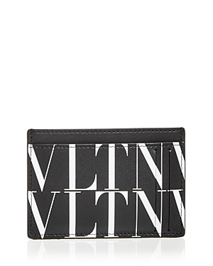 Valentino Logo Print Leather Card Case-Men