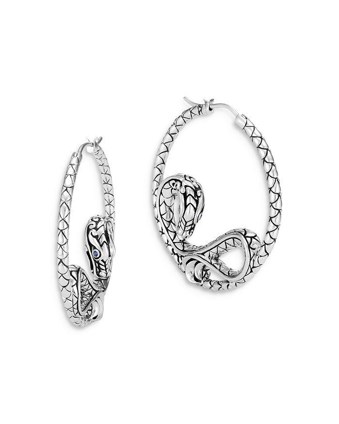 JOHN HARDY - Sterling Silver Legends Naga Hoop Earrings with Blue Sapphire