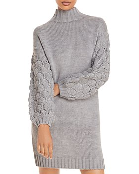 AQUA - Textured Sleeve Sweater Dress - 100% Exclusive