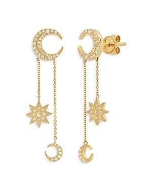 18K Yellow Gold Galaxia Diamond Mini Moon Drop Earrings