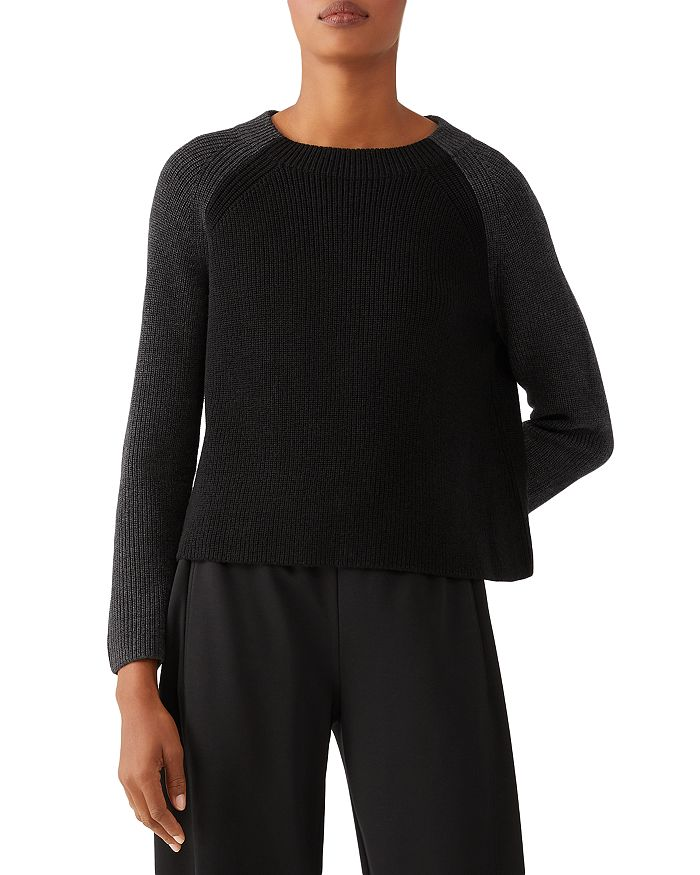 Eileen Fisher Petites - Colorblocked Merino Wool Cropped Sweater