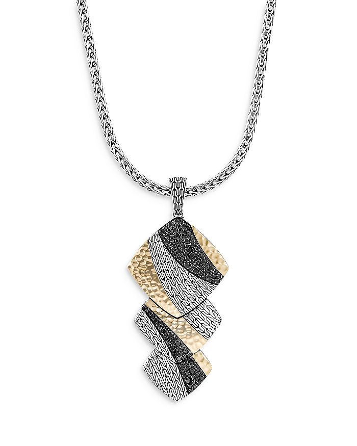 """JOHN HARDY - Sterling Silver & 18K Yellow Gold Classic Chain Black Sapphire & Black Spinel Pendant Necklace, 18"""""""
