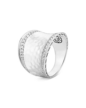 JOHN HARDY - Sterling Silver Classic Chain Diamond Pavé Hammered Saddle Statement Ring