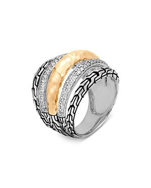 John Hardy Sterling Silver & 18K Yellow Gold Classic Chain Diamond Pave Dome Ring
