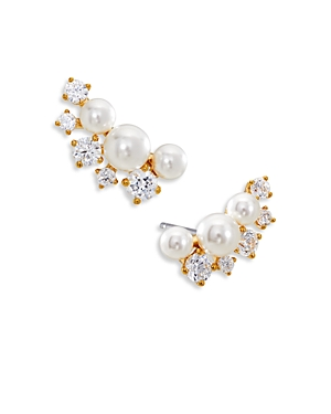 Nadri Camila Imitation Pearl Sparkle Cluster Earrings