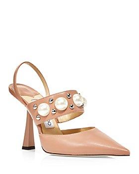 Jimmy Choo - Women's Breslin 100 High Heel Pointed Toe Stud & Imitation Pearl Embellished Slingback Pumps