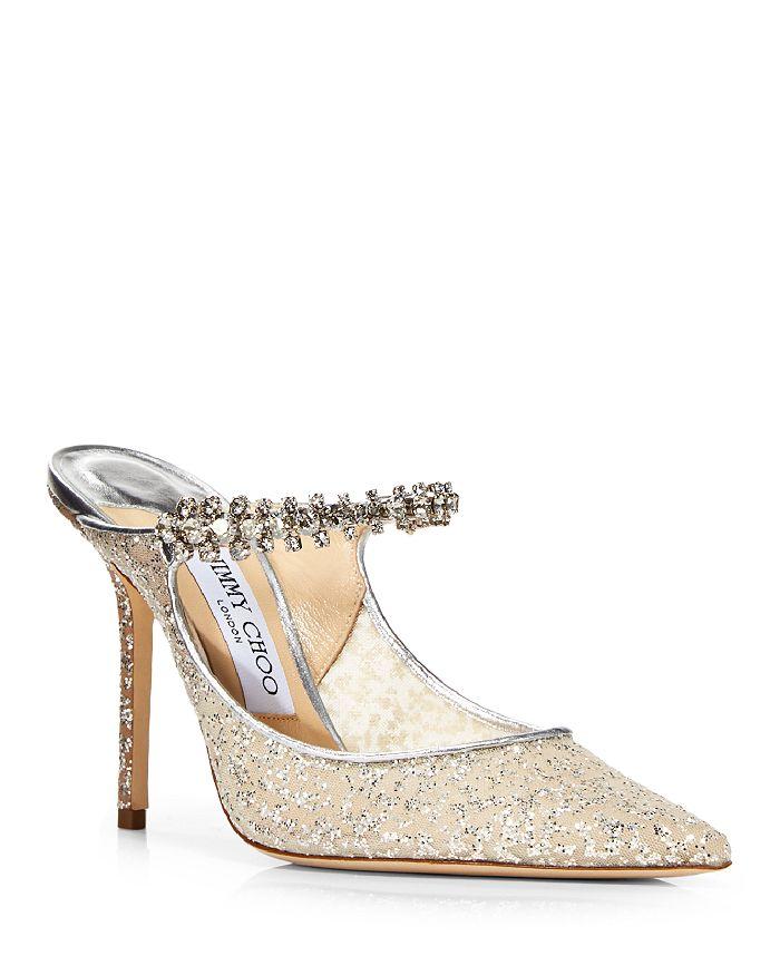 Jimmy Choo - Women's Bing 100 Embellished Mesh High Heel Mules
