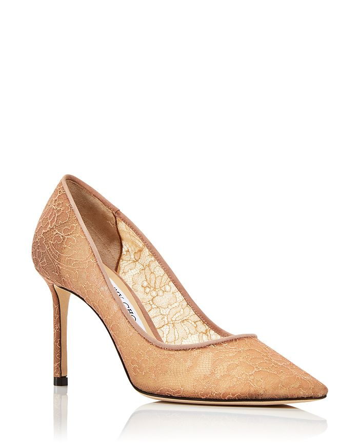 Jimmy Choo - Women's Romy 85 High Heel Pointed Toe Lace Covered Pumps