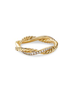 David Yurman - 18K Yellow Gold Petite Infinity Twisted Ring with Diamonds