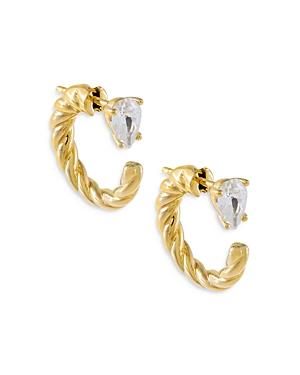 Adinas Jewels Front to Back Teardrop Rope Hoop Earrings