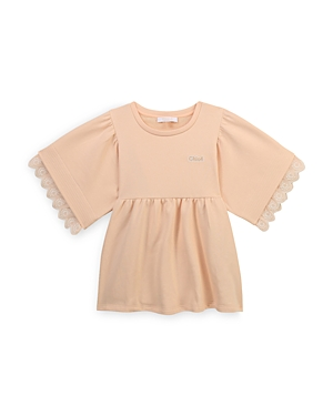 Chloé GIRLS' COTTON BLEND EMBROIDERED BLOUSE - BIG KID