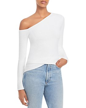 AQUA - Asymmetric Neckline Ribbed Long Sleeve Top - 100% Exclusive
