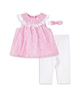 Little Me - Girls' Cotton Gingham Eyelet Tunic, Leggings & Headband Set - Baby