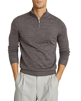 REISS - Blackhall Long Sleeve Merino Funnel Neck Half Zip Sweater