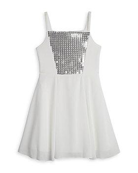 Pippa & Julie - Girls' Sequined Scuba Fit & Flare Dress - Big Kid