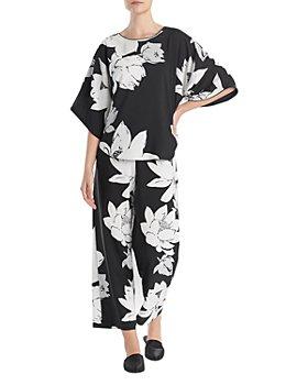 Natori - Floral Print Satin Pajama Set