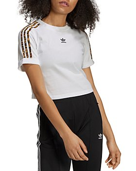 Adidas - Leopard Stripe Cropped Tee