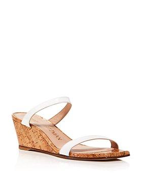 Stuart Weitzman - Women's Aleena Square Toe Wedge Slide Sandals