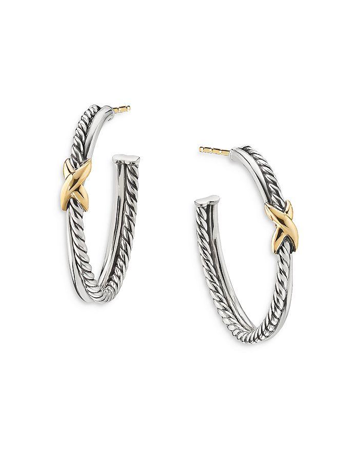 David Yurman Accessories STERLING SILVER & 18K YELLOW GOLD PETITE X HOOP EARRINGS