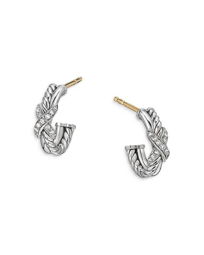 David Yurman Earrings STERLING SILVER & DIAMOND PETITE X MINI HOOP EARRINGS