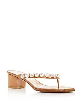 Stuart Weitzman - Women's Goldie Embellished Block Heel Thong Sandals