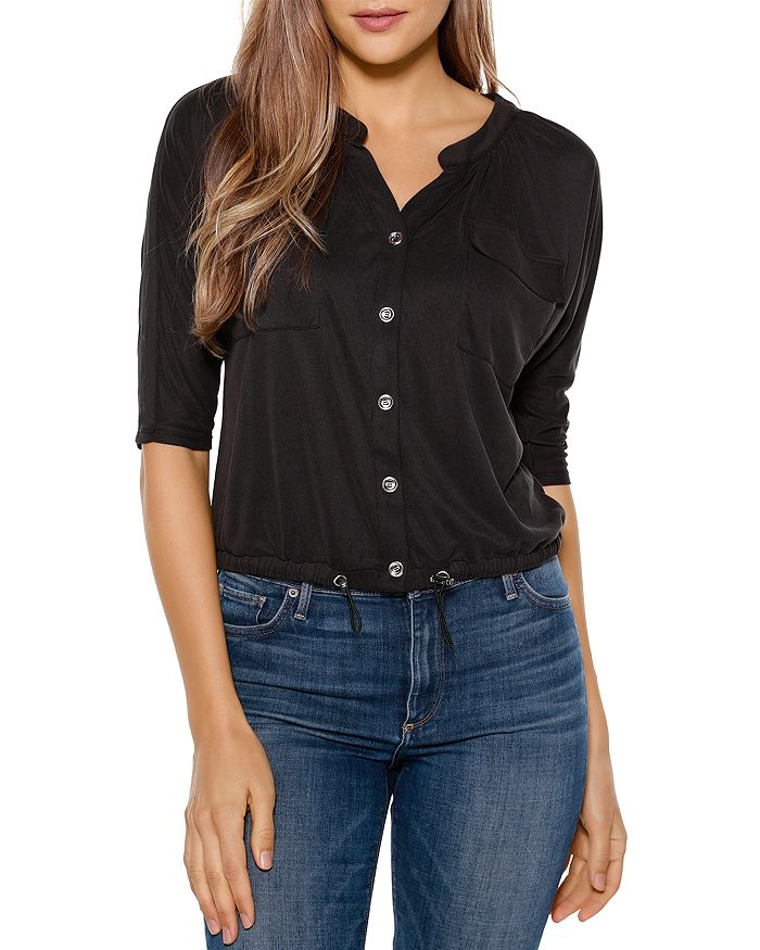 Belldini THREE-QUARTER SLEEVE DOLMAN BUTTON DOWN TOP