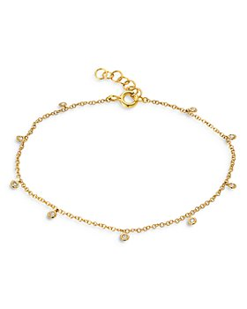 Zoe Lev - 14K Yellow Gold Diamond Charm Anklet