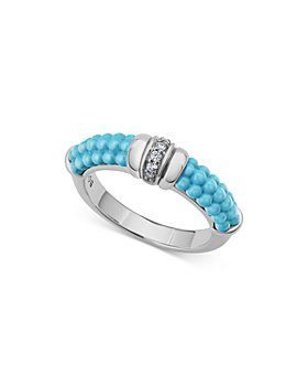 LAGOS - Sterling Silver Blue Caviar & Diamond Stack Ring