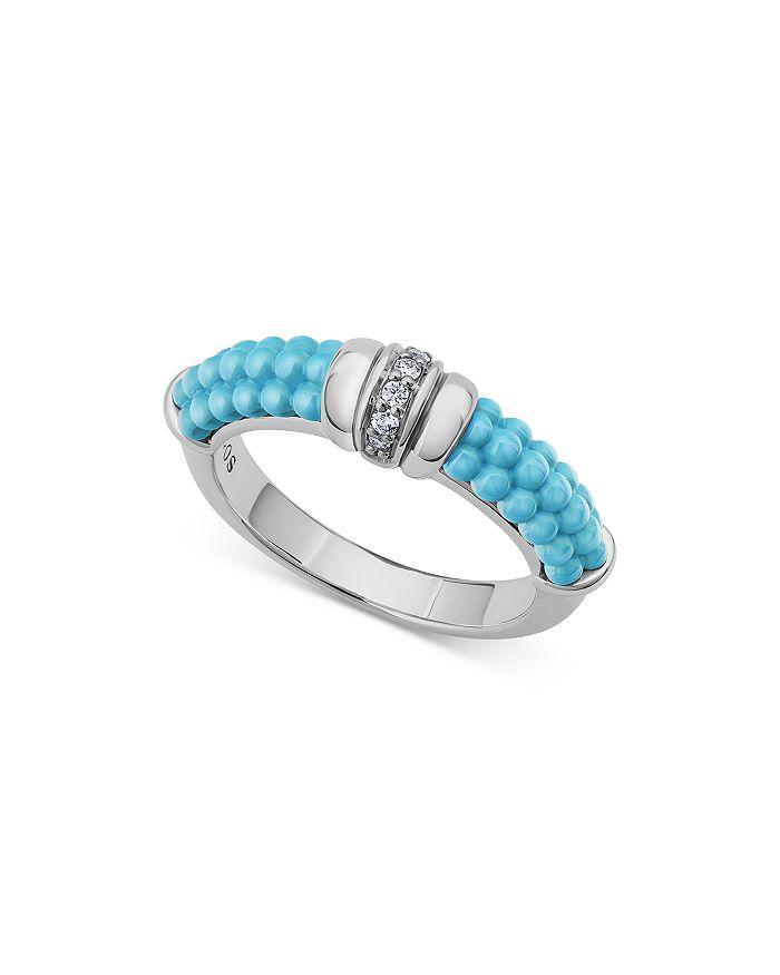 LAGOS - Sterling Silver Blue Caviar & Diamond Stack Ring