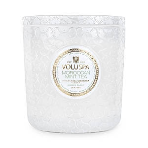 Voluspa Moroccan Mint Tea Embossed Glass Triple Wick Luxe Candle 30 oz.