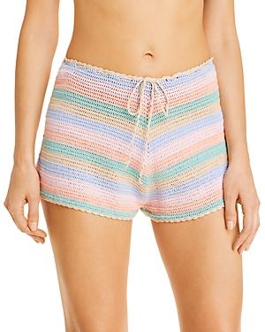 Pitusa Rainbow Crochet Swim Cover-Up Shorts