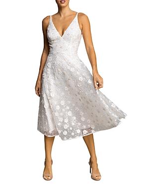 Elisa Beaded Floral Applique Midi Dress