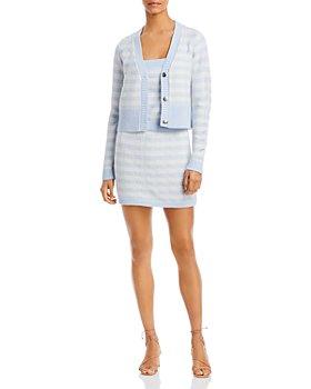 AQUA - Blue Gingham Knit Cardigan, Tank & Skirt - 100% Exclusive