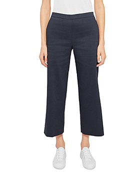 Theory - Wide-Leg Side Vent Pull On Pants