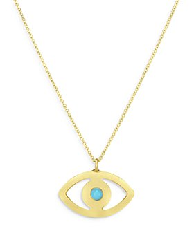 """Bloomingdale's - 14K Yellow Gold Turquoise Evil Eye Chain Pendant Necklace, 18"""" - 100% Exclusive"""