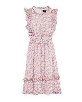 AQUA - Girls' Floral Flutter Midi Dress, Big Kid
