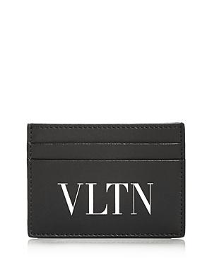 Valentino Garavani Logo Print Small Leather Card Case In Nero/bianco