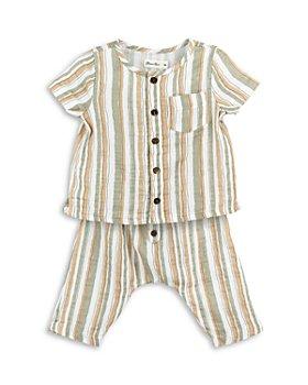 Oliver & Rain - Boys' Cotton Striped Shirt and Shorts Set - Baby