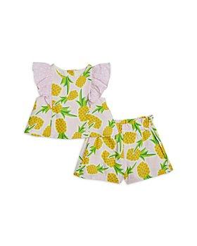 Pippa & Julie - Girls' Cotton Gauze Pineapple Top & Shorts Set - Little Kid