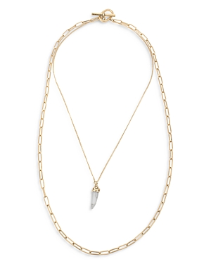 Allsaints White Howlite Horn Pendant Layered Necklace in Gold Tone, 17