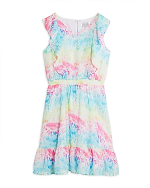 Us Angels Girls' Ruffled Tie Dye Dress - Big Kid