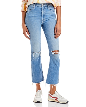 Mother Denims THE HUSTLER FLARED LEG DISTRESSED ANKLE JEANS IN UNDERSTUDY