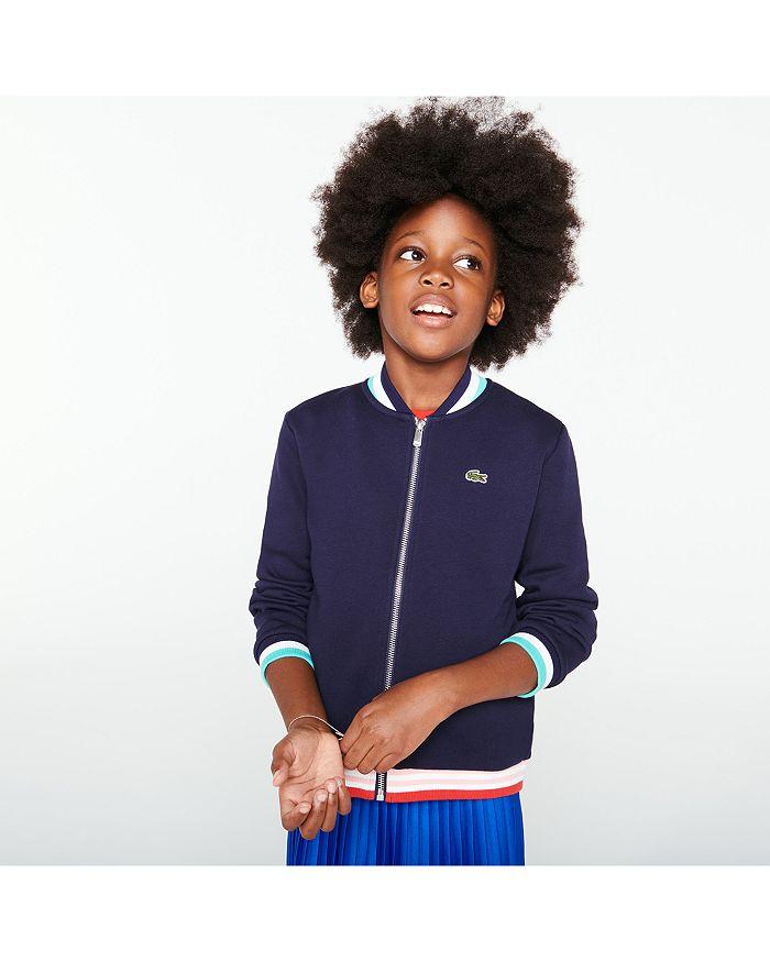 Lacoste - Girls' Fleece Zip Bomber Jacket - Little Kid, Big Kid