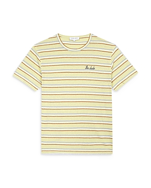 The Dude Embroidered Natural Striped Tee
