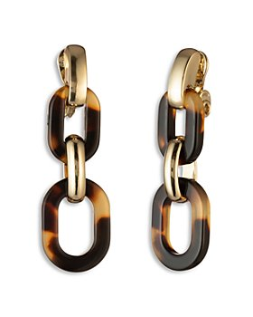 Ralph Lauren - Tortoise Oval Link Clip On Linear Drop Earrings
