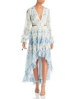 Rococo Sand - Metallic Chiffon High Low Dress