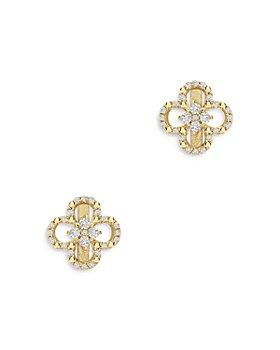 Bloomingdale's - Diamond Clover Stud Earrings in 14K Yellow Gold, 0.15 ct. t.w. - 100% Exclusive