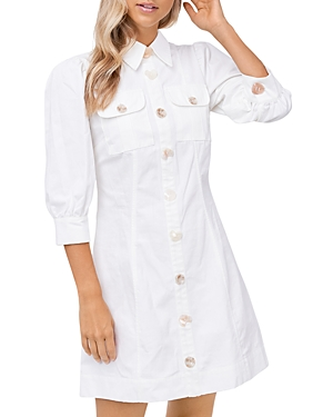 Puffed Sleeve Mini Shirtdress