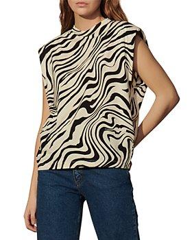 Sandro - Kerry Zebra Print Sleeveless Tee
