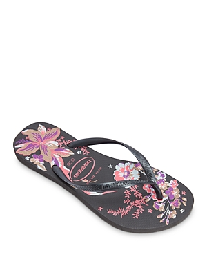 Women's Slim Organic Ii Tropical Flower Rubber Flip Flops
